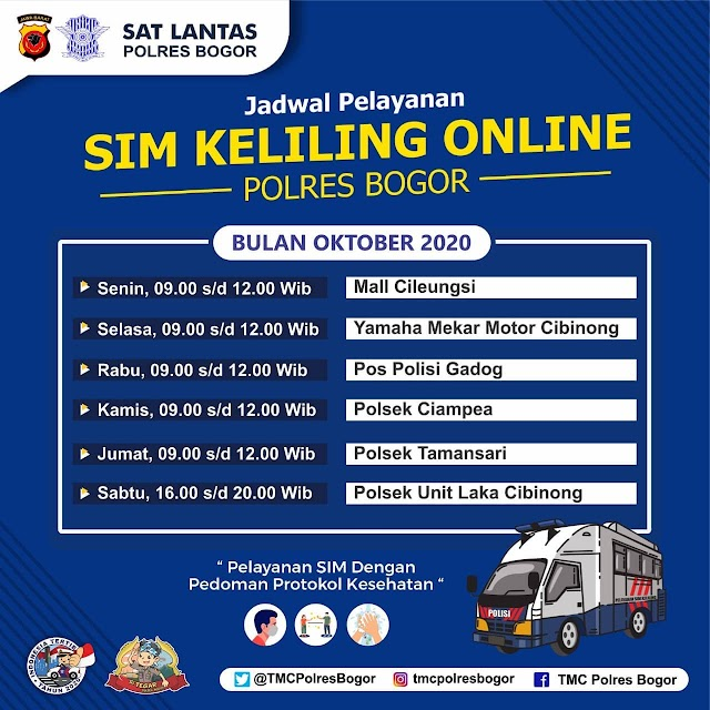Lokasi SIM Keliling Polres Bogor Bulan Oktober 2020
