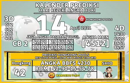 Kalender Prediksi HK Rabu 14 April 2021