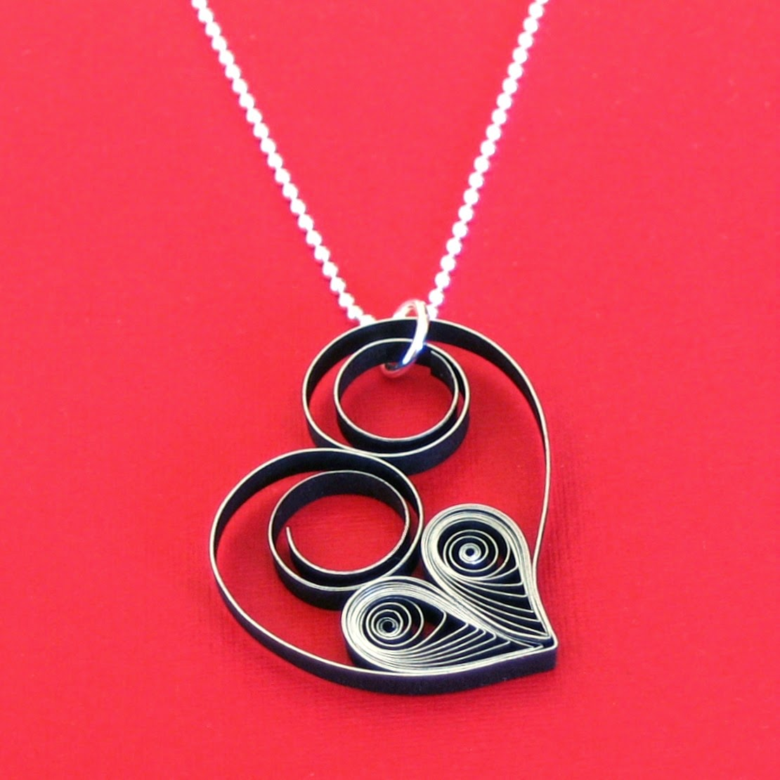 Asymmetric Heart Necklace - paper jewelry by Ann Martin