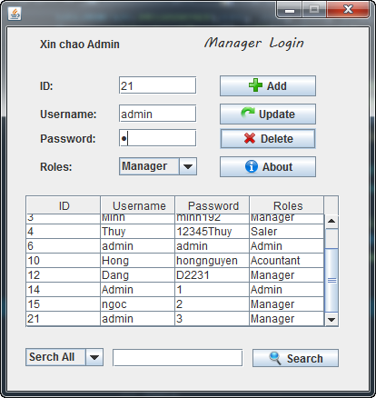 Search comboBox in java [GUI] Swing Database Login hiện Username ở