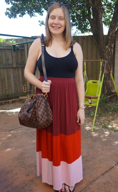 Away From Blue | nursing friendly maxi skirt outfit colour block black singlet