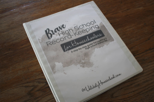 Binder for high school transcript for a homeschooler