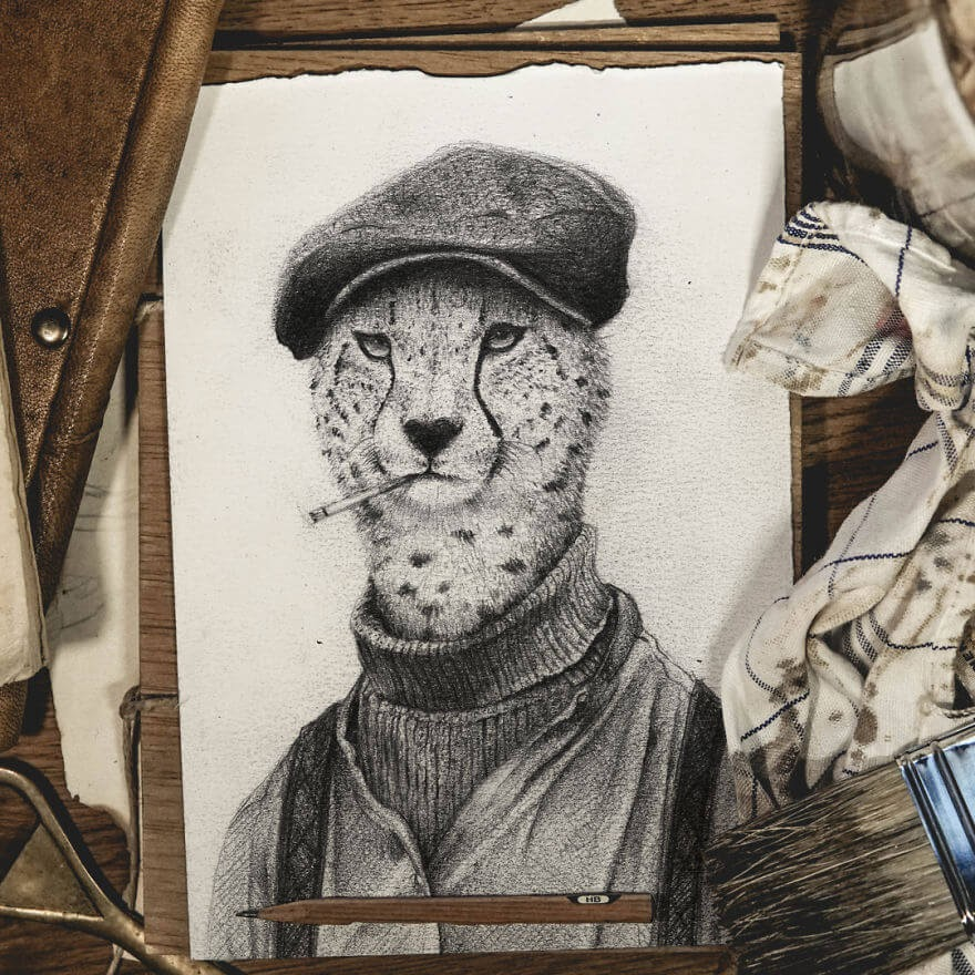 07-I-don-t-even-know-who-this-guy-is-Mike-Koubou-Animal-Family-Album-Portrait-Drawings-www-designstack-co