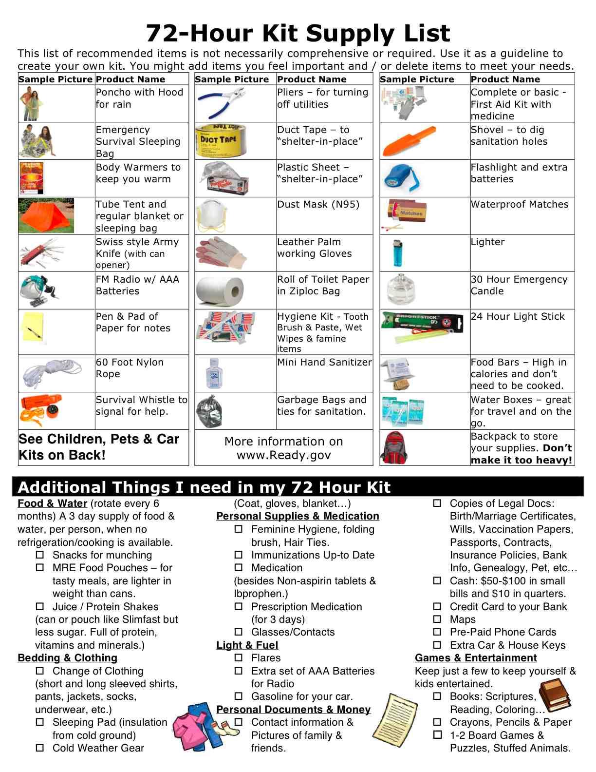 Emergency Survival Kit University Of California
