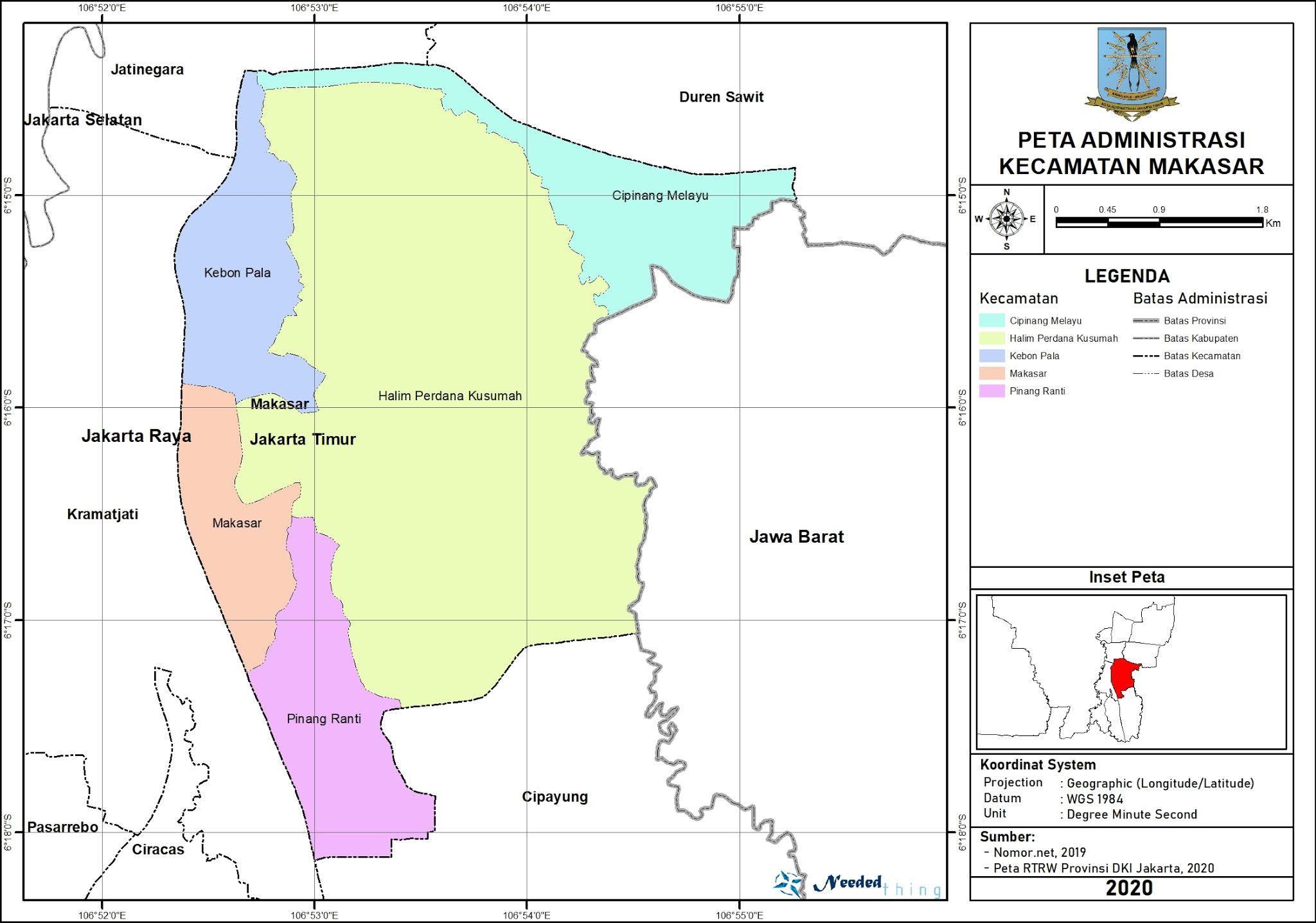 Peta Administrasi Kecamatan Makasar, Kota Jakarta Timur ...