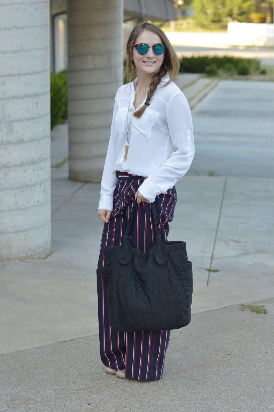 what to wear with striped dress pants | banana republic striped dress pants | new ways to style a white blouse for work | a memory of us | cute looks for work |
