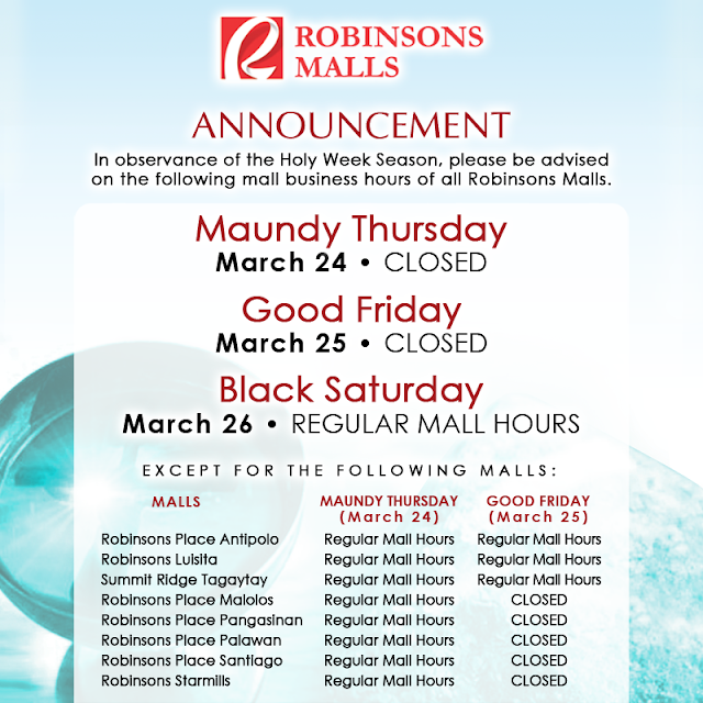 Robinsons Malls Holy Week 2016