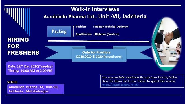 Aurobindo Pharma Limited WalkIn Interviews for FRESHERS on 22nd Dec 2020