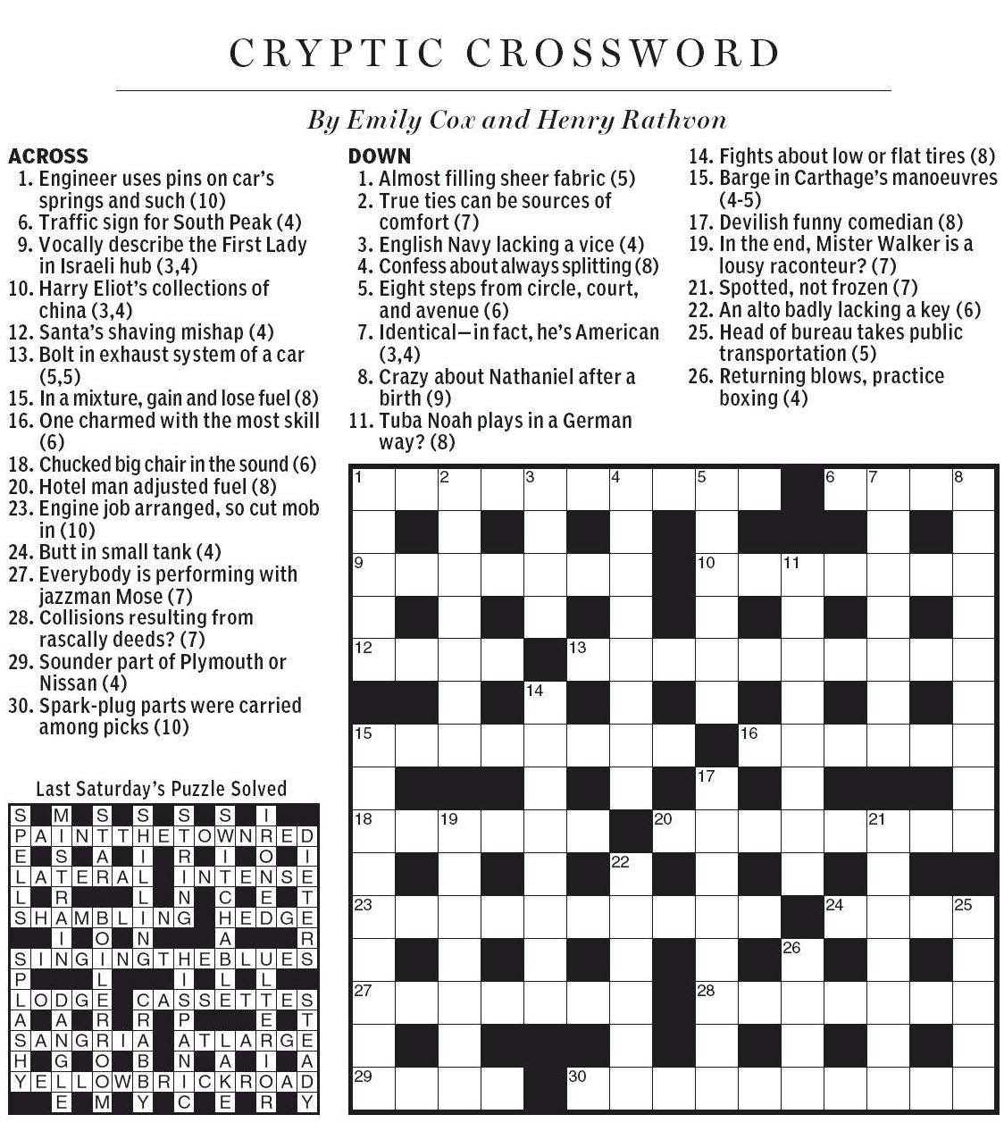 National Post Cryptic Crossword Forum September 2012