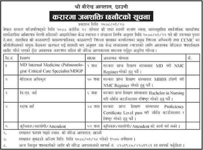 Birendra Hospital Chhauni Kathmandu Job Vacancy for MD, Medical Officer, BN Nurse, Staff Nurse, Kuchikar, Sahayogi