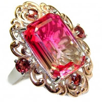 HUGE Top Quality Volcanic Pink Touramaline Topaz .925 Sterling Silver handcrafted Ring s. 8 1/4