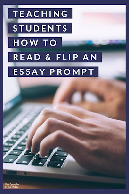 Use these ideas to help your struggling middle school students learn how to read and flip an essay prompt.