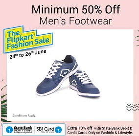 Flipkart Fashion Sale: Min 50% Off on Men's Footwear + Extra 10% off with SBI Cards
