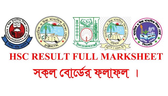 HSC Result Full Marksheet 2018 Chittagong Board,Dhaka Board,Barisal Board,Comilla All Board