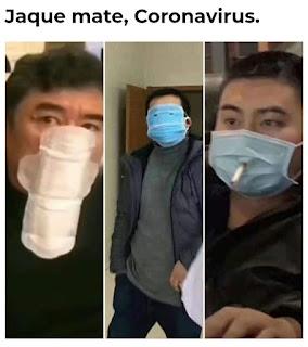 Personas con mascarillas personalizadas, compresas, con agujero para el tabaco