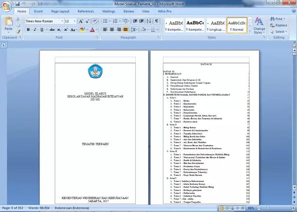 Silabus Matematika, PJOK dan Tematik SD Kurikulum 2013 Revisi