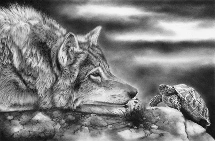 Mighty Fine Art Charging Tortoise With Wolf