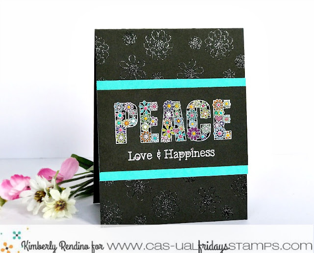 Peace, Love & Happiness card by Kimberly Rendino | CAS-ual Fridays Stamps | Prismacolor | handmade card | papercraft | kimpletekreativity.blogspot.com