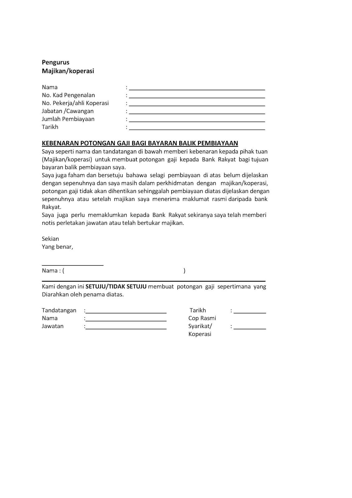 Contoh Surat Potongan Gaji Majikan Contoh Surat