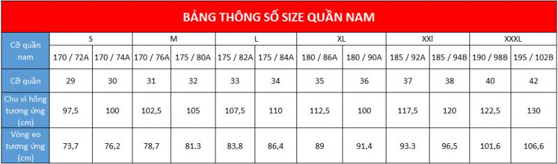 Bảng size quần nam theo số đo