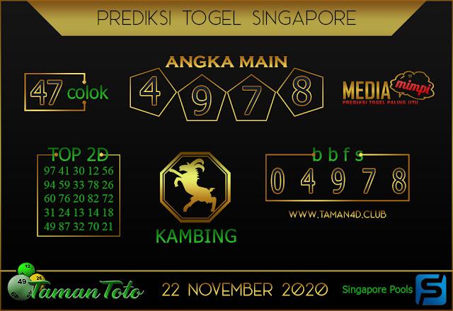 Prediksi Togel SINGAPORE TAMAN TOTO 22NOVEMBER 2020