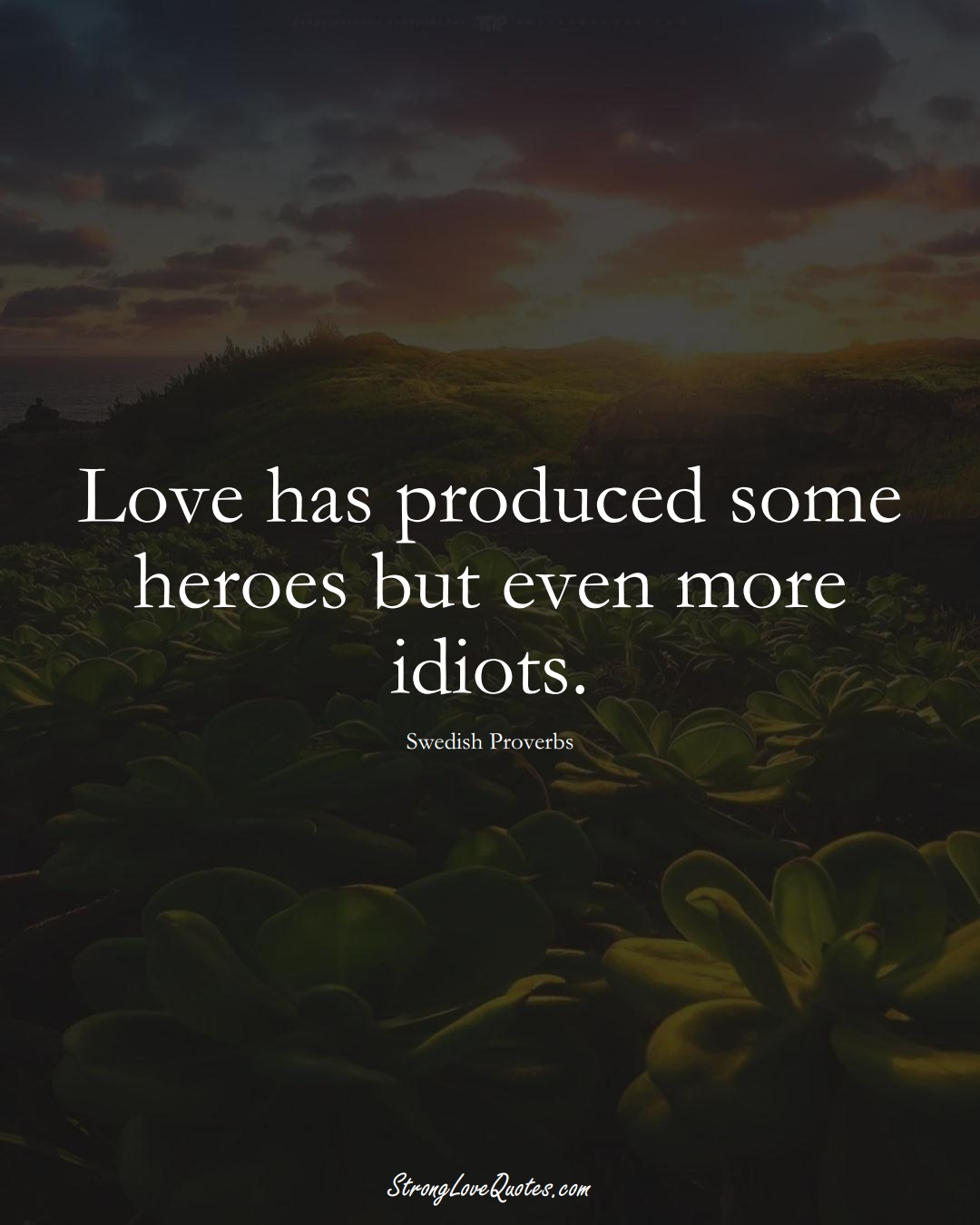 Love has produced some heroes but even more idiots. (Swedish Sayings);  #EuropeanSayings