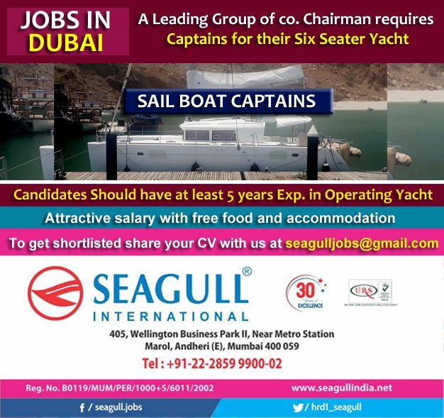 Captains for their Six Seater yacht required for Dubai