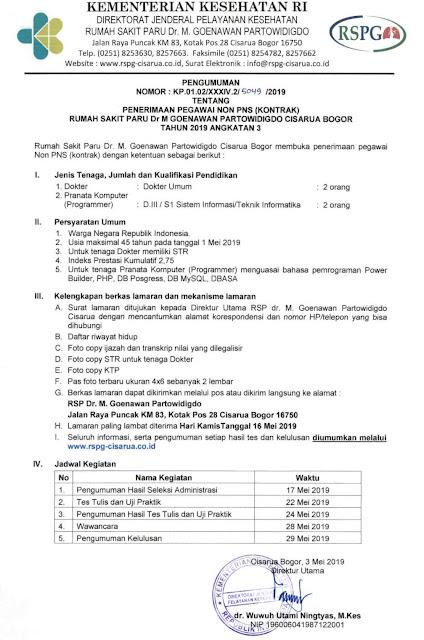 Penerimaan Pegawai Rumah Sakit Paru Dr.M Goenawan Partowidigdo Cisarua Bogor