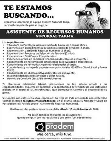Banco Prodem precisa de Asistente de Recursos Humanos
