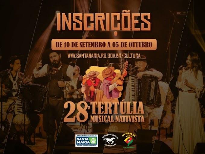 Inscrições para a 28ª Tertúlia Musical Nativista se enceram no dia 05 de outubro