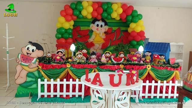 Mesa temática tradicional luxo de tecido - Decoração de mesa de aniversário tema da Magali para festa infantil feminina