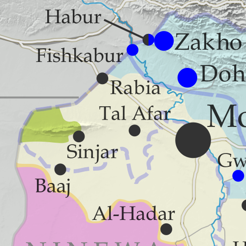 Detailed map of territorial control in Iraq as of November 29, 2017 after the recapture of Rawa, Qaim and government seizure of additional Kurdish-held territories. Shows territory held by the so-called Islamic State (ISIS, ISIL), the Baghdad government, the Kurdistan Peshmerga, and the Yezidi Sinjar Alliance (YBS and YJE). Colorblind accessible.