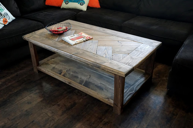 Rustic Herringbone Coffee Table