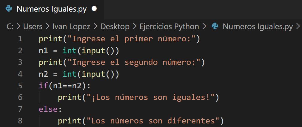 Saber si dos números iguales en Python