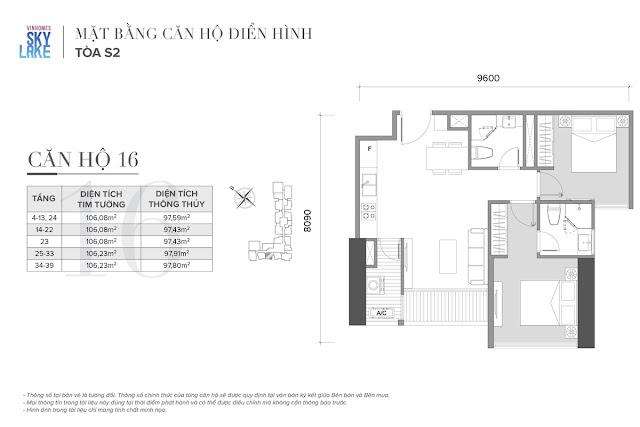 Mặt bằng căn hộ 16 tòa S2 Vinhomes Skylake