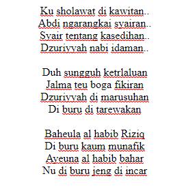 lirik ku sholawat dikawitan, lirik dzuriyah nabi habib bahar