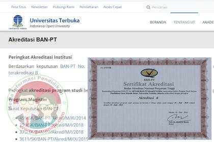 Cara Download Akreditasi Ban PT Untuk Kampus UT (Universitas Terbuka)