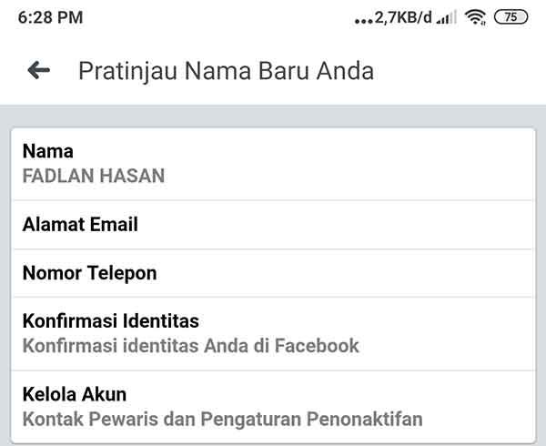 Membuat Nama Akun Facebook Kapital