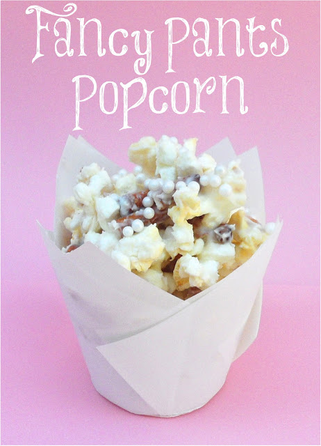 Fancy Pants Popcorn  Popcorn made fancy! With sugared pearls, white chocolate, and pretzels!