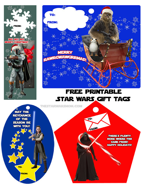 Star Wars Holiday Gift Tags - Free Printables - The Last Jedi, Porg, Chewbacca, Rey, Boba Fett, Kylo Ren, Han Solo