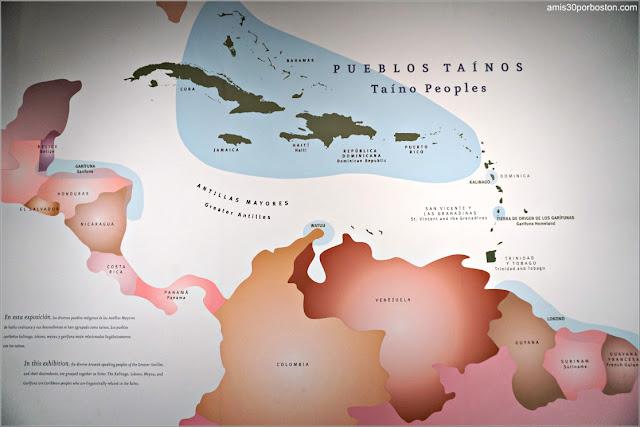 Mapa de los Pueblos Taínos en el Museo Nacional de los Indios Americanos en Nueva York