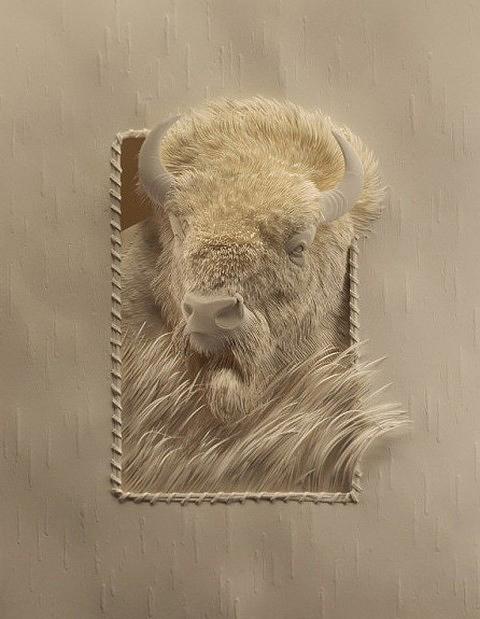 Trabajo artístico en papel e búfalo