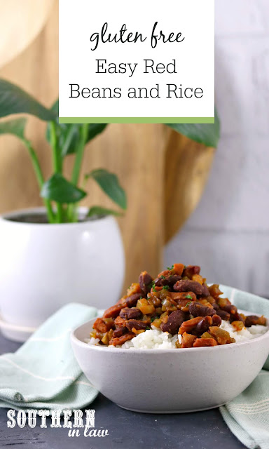 Gluten Free Easy Red Beans and Rice Recipe - gluten free, healthy southern recipes, low fat, clean eating recipesGluten Free Easy Red Beans and Rice Recipe - gluten free, healthy southern recipes, low fat, clean eating recipes
