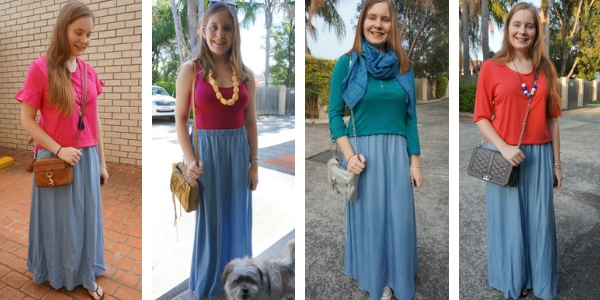 4 ways to wear a chambray maxi skirt with bright tops | away from the blue
