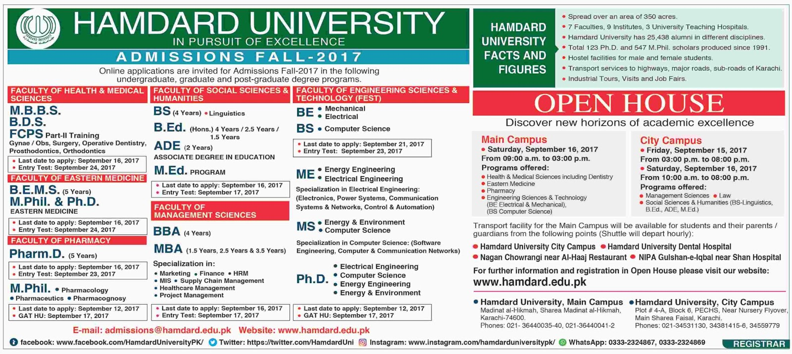 Admissions Open in Hamdard University Karachi - 2017