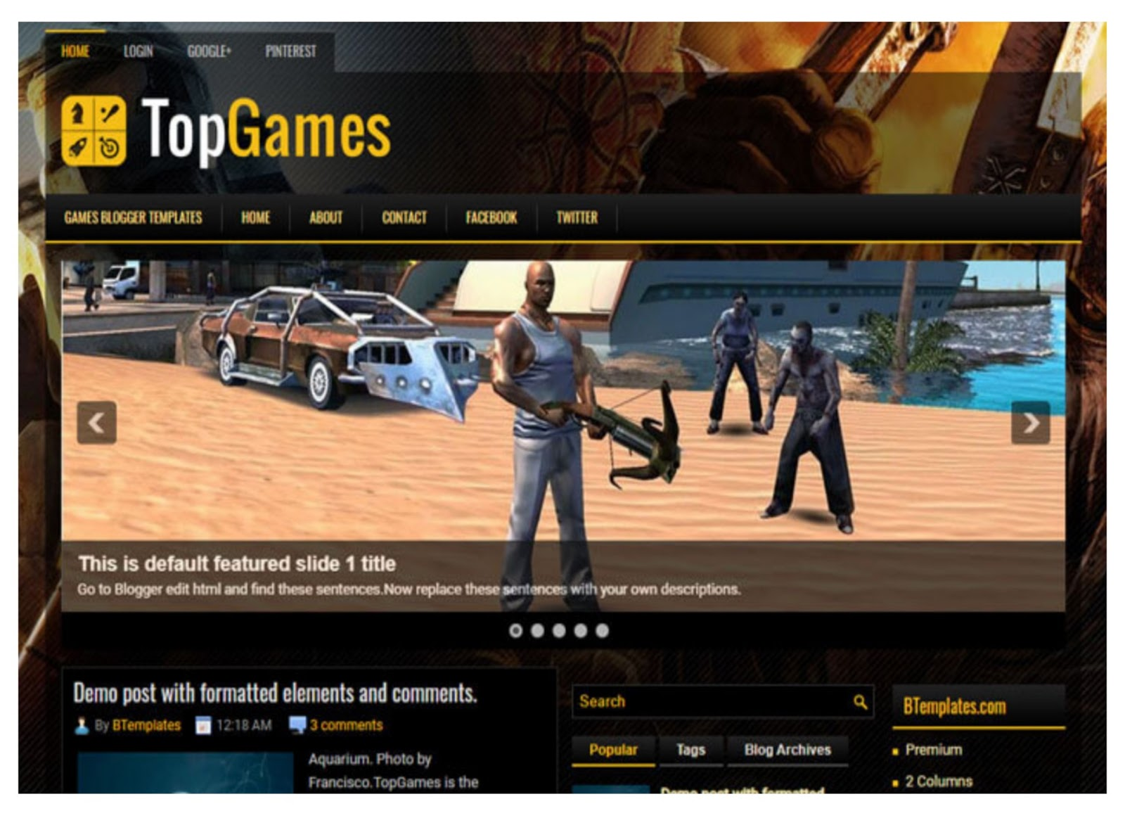 Top Games Blogger Template