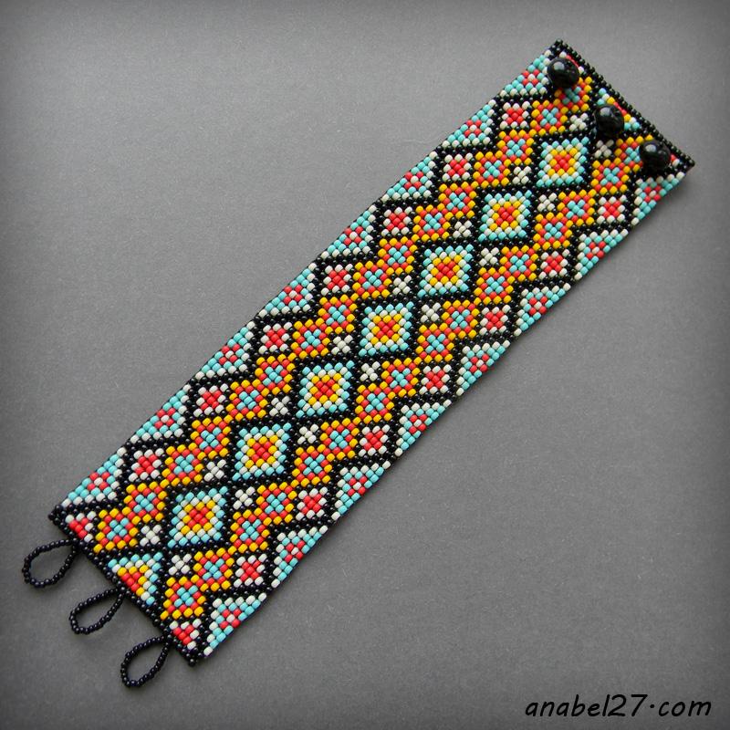Яркий широкий браслет из японского бисера - этно-стиль