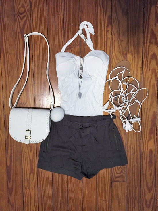 green bow front soft shorts outfit of the day