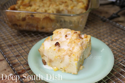 A southern bread pudding using leftover French bread, a can of fruit and finished with a drizzle of whiskey sauce.