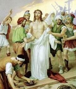 Dibujo de Jesús siendo arrebatado de sus prendas